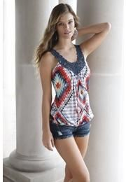 ETHNIC DIAMOND PRINT TANK