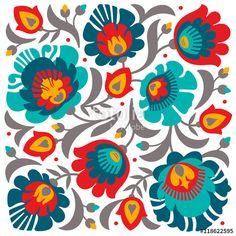 Vector: Polish folk papercut style flower composition