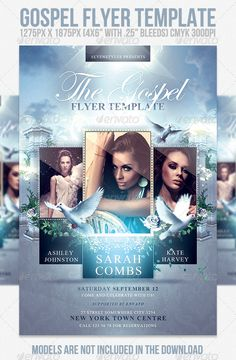 "Gospel Flyer Template #GraphicRiver Gospel Flyer Template The people are not included in the download. Contact me via email if you would like more info on them. The PSD file is setup at 1275px x 1875px (4×6"" with .25"" bleeds) CMYK 300DPI The PSD file is very well organised, with color coded groups and layers named appropriately. The fonts used in the design are ""Edwardian Script"" and ""Times New Roman"". If you do not have ""Edwardian Script"" I suggest you try this very similar one: Chopin…"