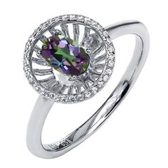 0.98 Ct Oval Green Mystic Topaz 925 Sterling Silver Halo Ring