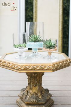 No time for plants? No problem! These Debi Lilly™ succulents fit perfectly in these clear pedestal vases creating a whimsical and easy to take care of summer decoration.