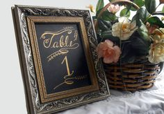 Calligraphy Table Number Cards with flourishes