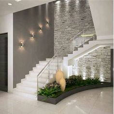 Inspire-se nestas fantásticas escadas para construir a sua!Corredores e halls de entrada por ACE INTERIORS Interior Design Your Home, Home Stairs Design, Modern House Design, Stair Design, Interior Ideas, Brick Interior, Hall Interior, Apartment Interior, Apartment Design