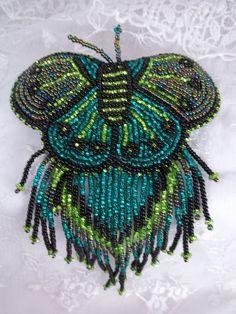 Czech Glass Beaded Butterfly Barrette Green Mix Pretty!   eBay