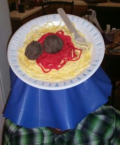 Spaghetti & Meatballs w/ fork & tablecloth for Crazy Hat Day