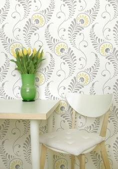 this stencil looks like wall paper - and i love green, gray, and yellow color combo