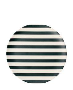 Bamboo Melamin Teller Stripes black klein