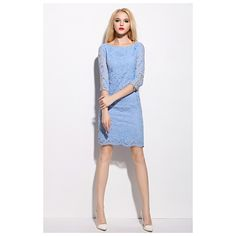 Light Blue Lace Overlay Jewel Neckline Dress With 3/4 Length Sleeves