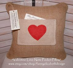 Valentine Love Note Pocket Pillow FREE SHIPPING- Valentine's Day- Valentine Gift- Burlap Pillow- Pocket Pillow-Decorative Pillow