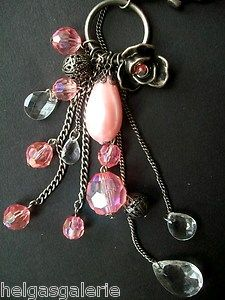 Großer Taschenanhänger Schlüsselanhänger große rosa faux Perle Kristalle  Big pocket tag - key tag with big pink faux pearl and cristalls
