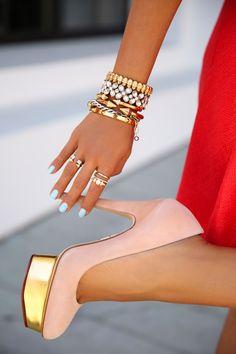 < red x gold accents > feat. #wanderlustandco Multi-Stud Gold Bangle via @vivaluxuryblog