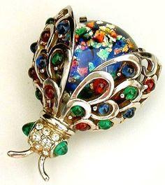 1950s MARCEL BOUCHER Brooch Sterling BEETLE Bug:  Fire Opal MOSAIC Glass.