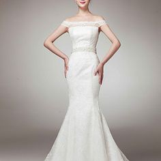 Off-the-shoulder is so IN. Nice look. Trumpet/Mermaid Off-the-shoulder Court Train Lace Wedding Dress – USD $ 229.99