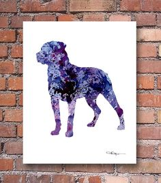 Purple Rottweiler Art Print - Abstract Watercolor Painting - Wall Decor