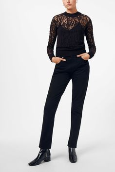 <p>The Diana Sweater charms with its embroidered, sheer structure. Cut in a slim fit, it has contrasting ribbed details around the neck, on the cuffs and he
