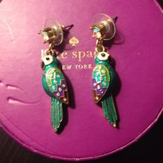 Parrot Earrings Parrot earrings.  Will be cleaned properly before shipping. Accessories