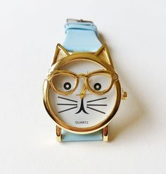 Blue Cat Wrist Watch - cat jewelry, kitten watch, womens watches, hipster watch, unique watches, blue watch, cute watch, animal watch by TheTeofMala on Etsy
