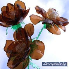 flores hechas con botellas de plástico 9