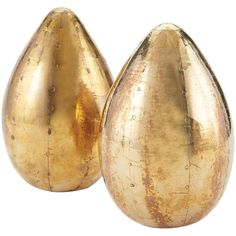 Set of 2 German Silver Metallic Eggs design by Lazy Susan ($58) ❤ liked on Polyvore featuring home, home decor, statues and sculptures and handmade home decor