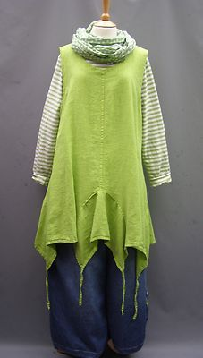 La-Bass-Just-in-LIME-Linen-Asymeterical-pull-tie-Tunic-Sizes-1-18-22-24