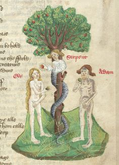 Detail of a miniature of the Temptation of Adam and Eve by a human-headed serpent.