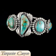 Navajo Native American Pilot Mountain Turquoise Cuff Bracelet