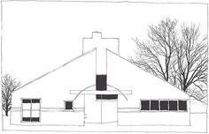 Robert Venturi, Vanna Venturi House, Chestnut Hill, Philadelphia, Pennsylvania, United States, 1962-1964 House Sketch, House Drawing, Vanna Venturi House, Denise Scott Brown, Chestnut Hill, Postmodernism, Floor Plans, United States, Studio