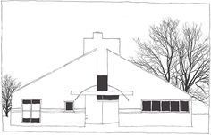 Robert Venturi, Vanna Venturi House, Chestnut Hill, Philadelphia, Pennsylvania, United States, 1962-1964 | drawn by Riccardo Salvi