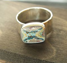 Fordite Sterling Ring Size 6 1/2 Wide. Sizing is by jamesblanchard, $165.00