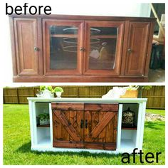 Before and after furnitire flip, barn doors, tv stand, console, entertainment center, diy, furniture makeover, how to make barn doors cheaper than buying   http://abgfurnitureflips.blogspot.com/?m=1