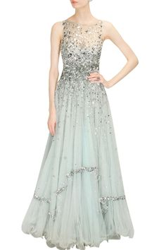 Sky blue and silver laser cut mirror applique work flared gown available only at Pernia's Pop Up Shop.