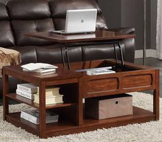 dark brown lift top cocktail coffee table on casters traditional
