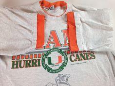 202a3292df11 Miami Hurricanes T-Shirt Mens L/XL Sportsline 90s Orange Sleeves USA Made  Cotton Tee