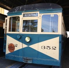 Trolley car that stopped at the transit point to go to Alcatraz in San Francisco.