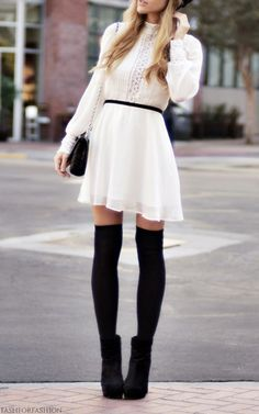 def77d33b 17 Fall Outfit Ideas With Over The Knee Socks Knee High Socks Outfit