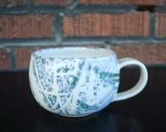 Matte Map Cappuccino Cup by PlaceValuePottery on Etsy