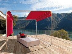Tonnelle en acier inoxydable avec couverture coulissante ShangriLa by April Furniture   design Florian Asche