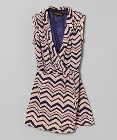 Look at this #zulilyfind! Pink Zigzag Surplice Dress - Girls #zulilyfinds