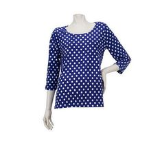 Susan Graver Liquid Knit U-Neck Top w/Dot Print& 3/4 Sleeves - QVC.com....love th dots...