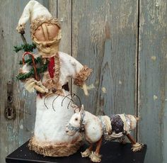 Primitive Grungy All White~Snowy SANTA DOLL & REINDEER~Stone Mt Prims Christmas  #NaivePrimitive #Handmadebyme
