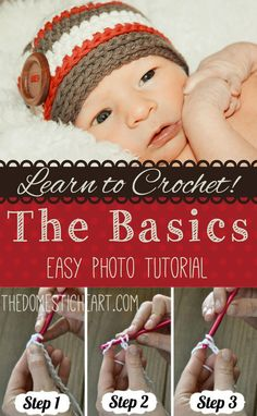 Learn the basics of crochet with this step-by-step photo tutorial from TheDomesticHeart.com. Includes a free crochet hat pattern for fall.