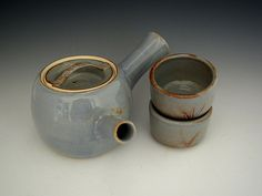 Ceramic Teapot Rustic Blue Kyusu with Two by DirtKickerPottery, $85.00