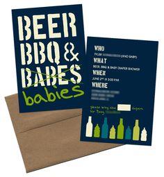 LOVE! Beer BBQ & Babies  Man Baby Shower  courtneywinetdesign