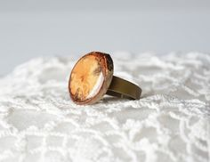 Natural organic birch wood ring with birch bark by MyPieceOfWood, $19.00