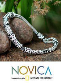 Men's sterling silver bracelet, 'Royal Scrolls' at The Child Health Site