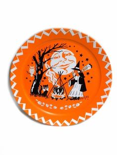 Halloween Vintage 18-Inch Tin Serving Tray Plate #OneHundred80Degrees