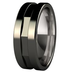 Mens Black Titanium Wedding Band with Domed Profile and Matte