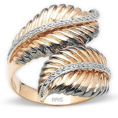 Pırlantalı Altın Melek Tüyü Yüzük, 14 ayar, özel tasarım, meleklerin ışığı, altın yüzük