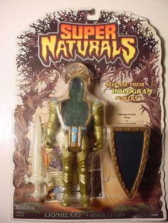 The action figure of Lionheart, heroic leader of the Supernaturals toy line, a series of holographic and spectral toys released by Tonka in the 1980s