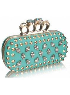 Teal/Turquoise Clutch - Turquoise Embellished Skull Knuckle Ring